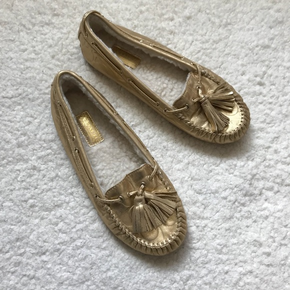 510ce3f8045 Coach Shoes - Coach Anita Moccasin Shearling Slipper Shoe Gold